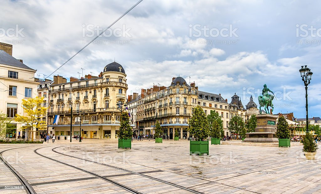 Place du Martroi, the main square of Orleans - France stock photo