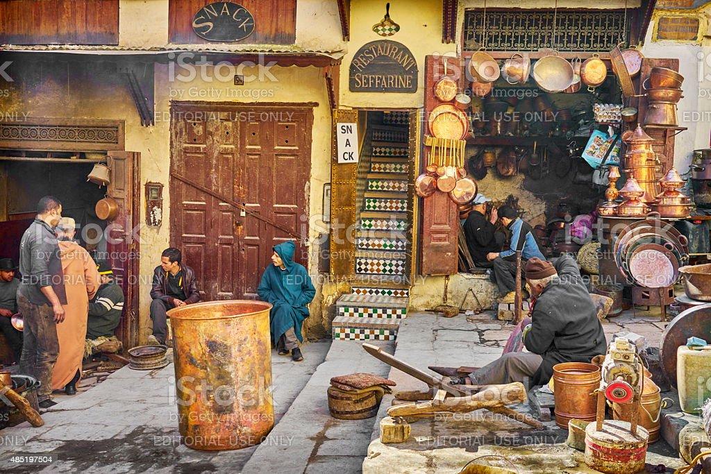 Place el Seffarine, Fez Medina, Morocco stock photo