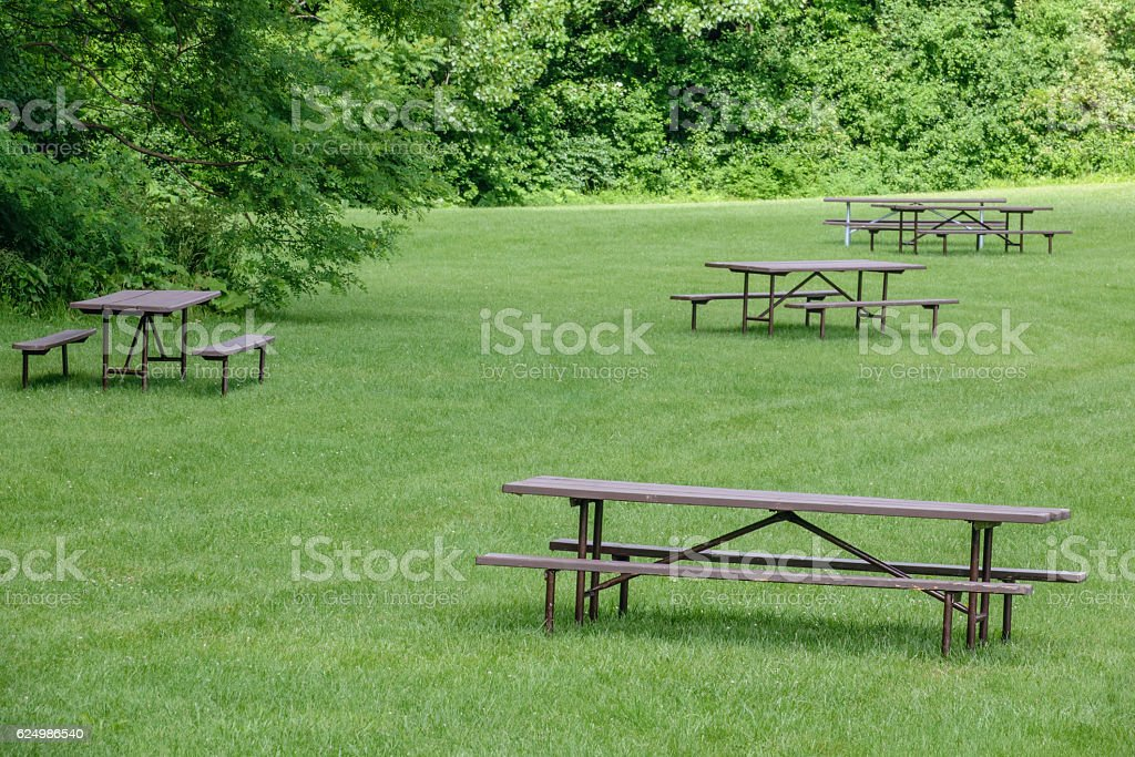 Place for a picnic in the park stock photo