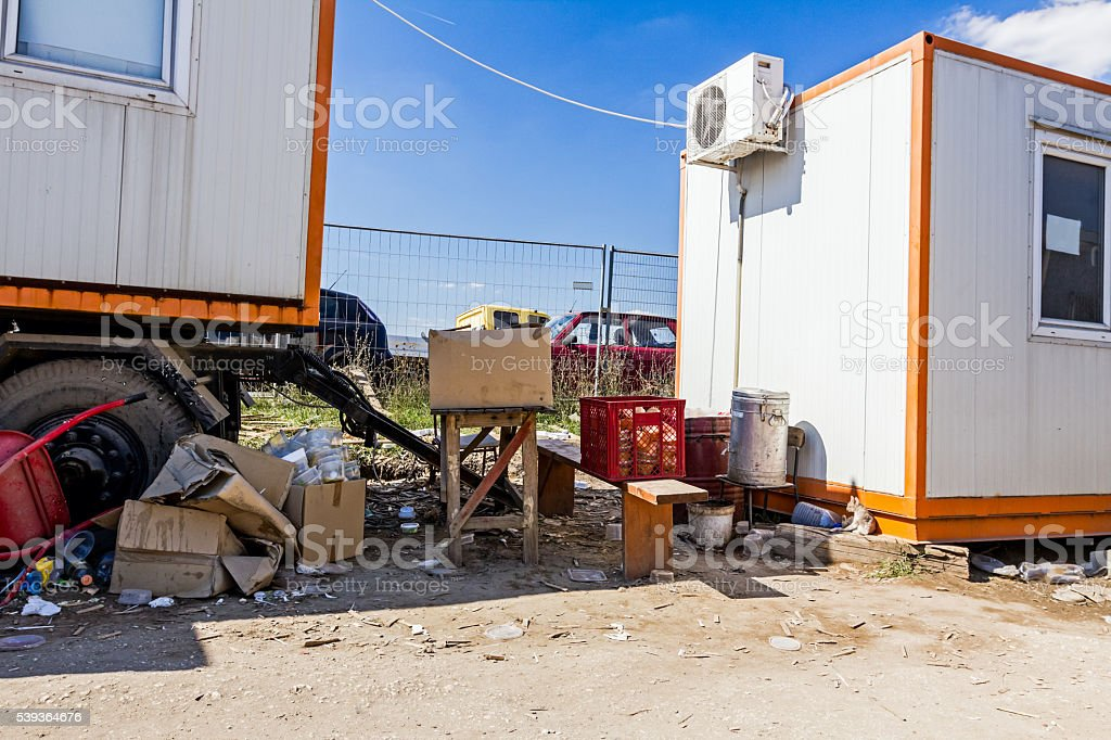 Place for food time at construction site stock photo