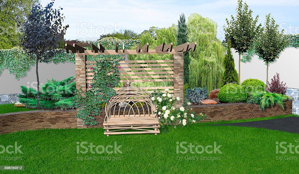 Place for get togethers in the garden, 3d rendering stock photo