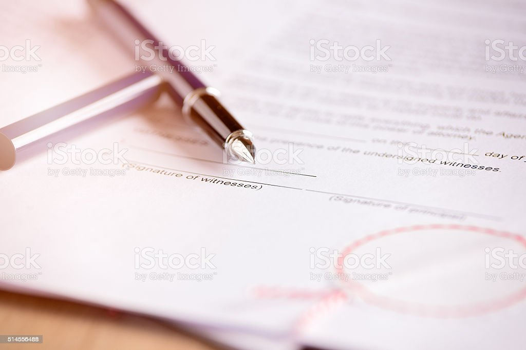 Place for signature of a witness stock photo