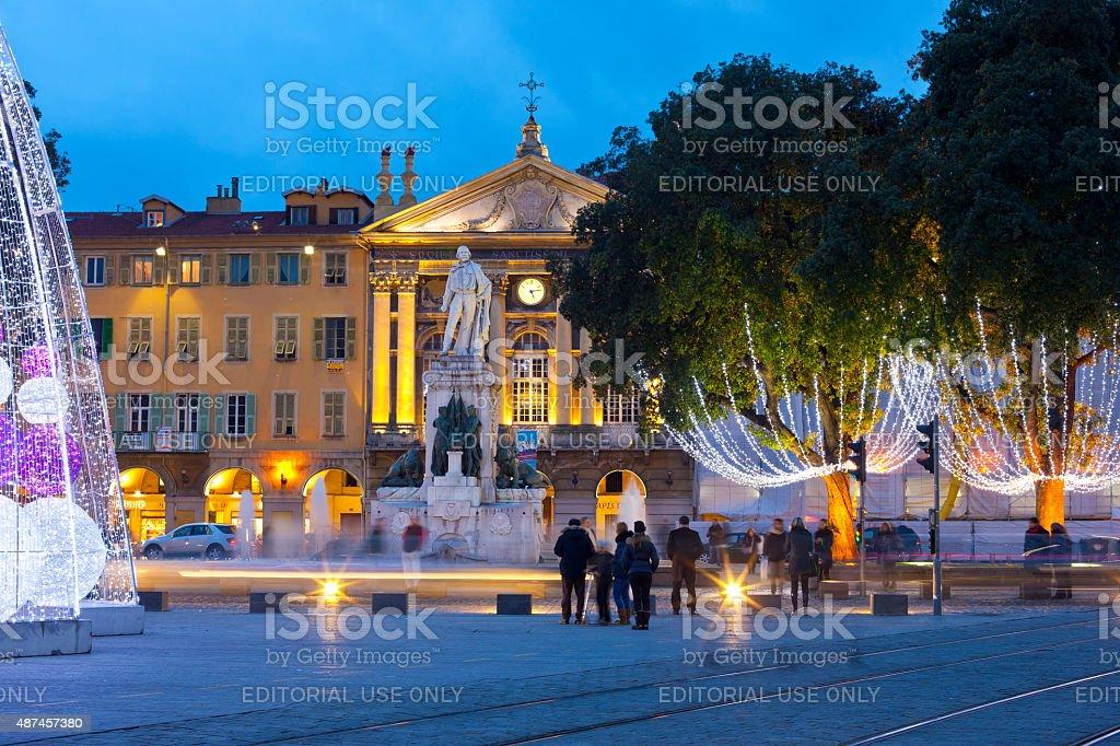 Place Garibaldi at night. Nice, France stock photo