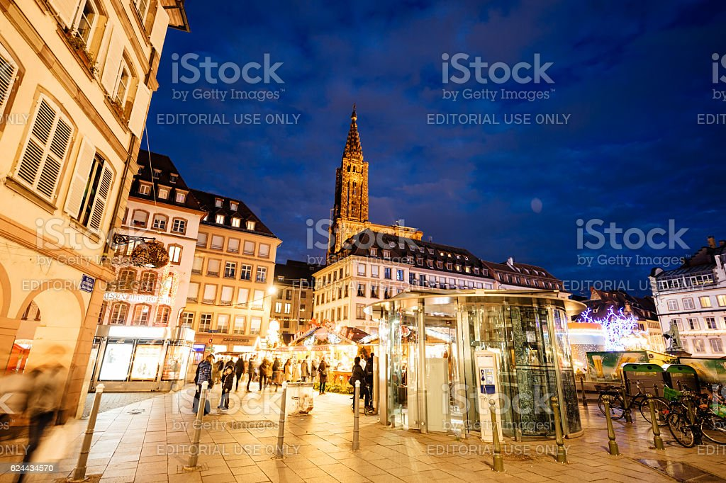 Place Gutenberg Christmas Market France Strasbourg stock photo