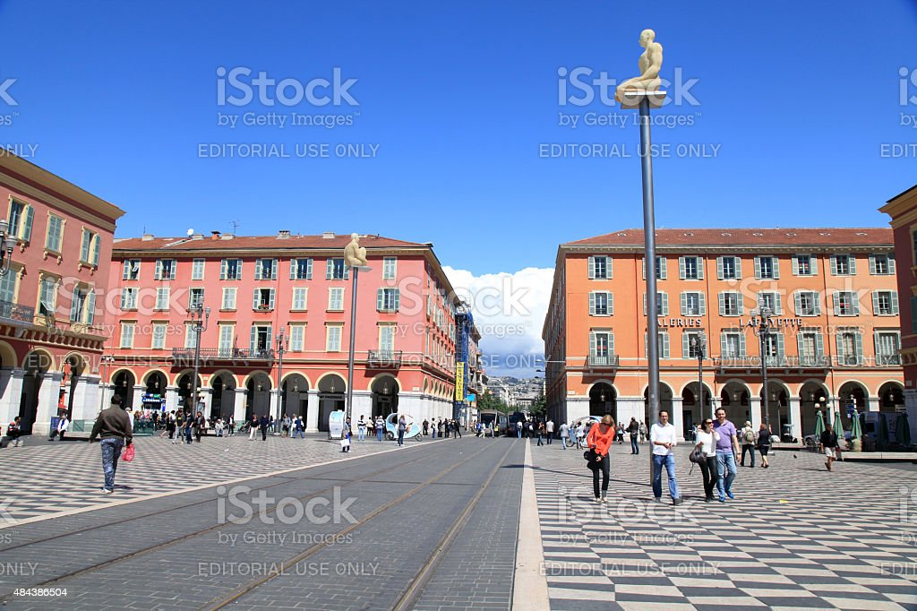 Place Massena - the main square of Nice, France. stock photo