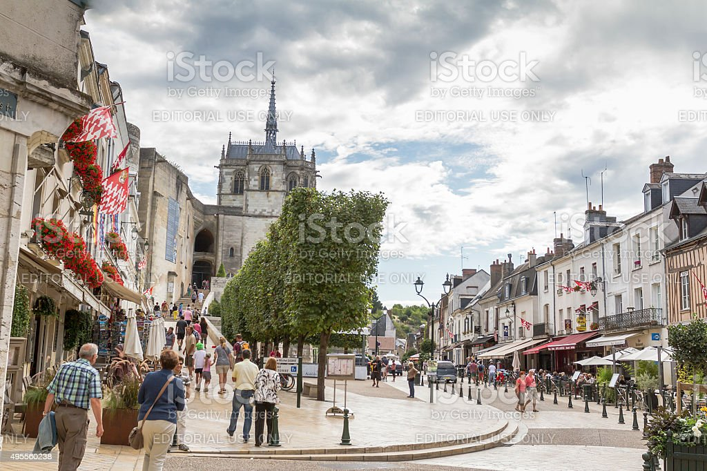 Place Michel Debre - Amboise - France stock photo