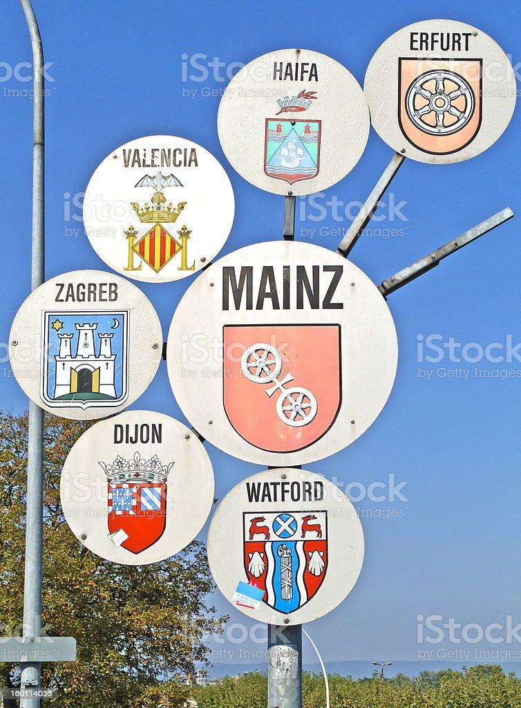 場所のお名前のサインを Manz ロイヤリティフリーストックフォト