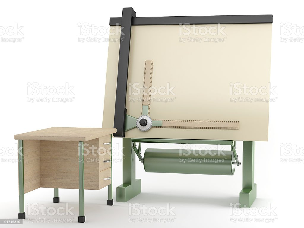 Place of work for draughtsman royalty-free stock photo