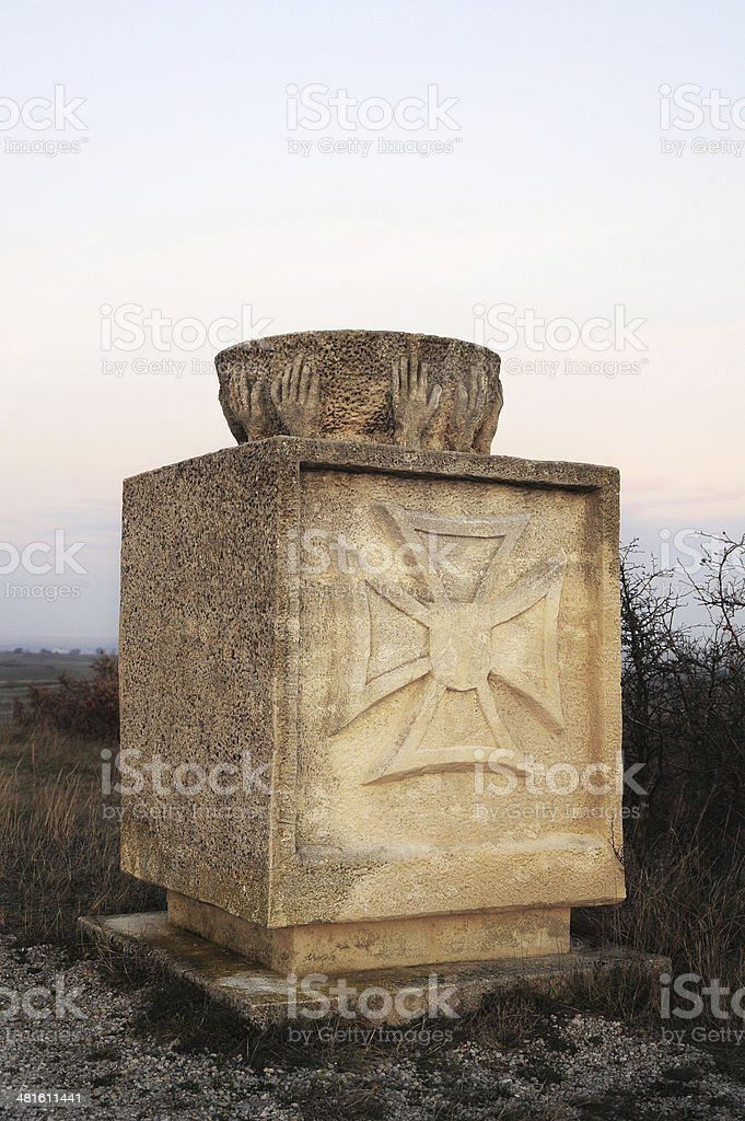 Place of worship and holy water basin outdoors stock photo