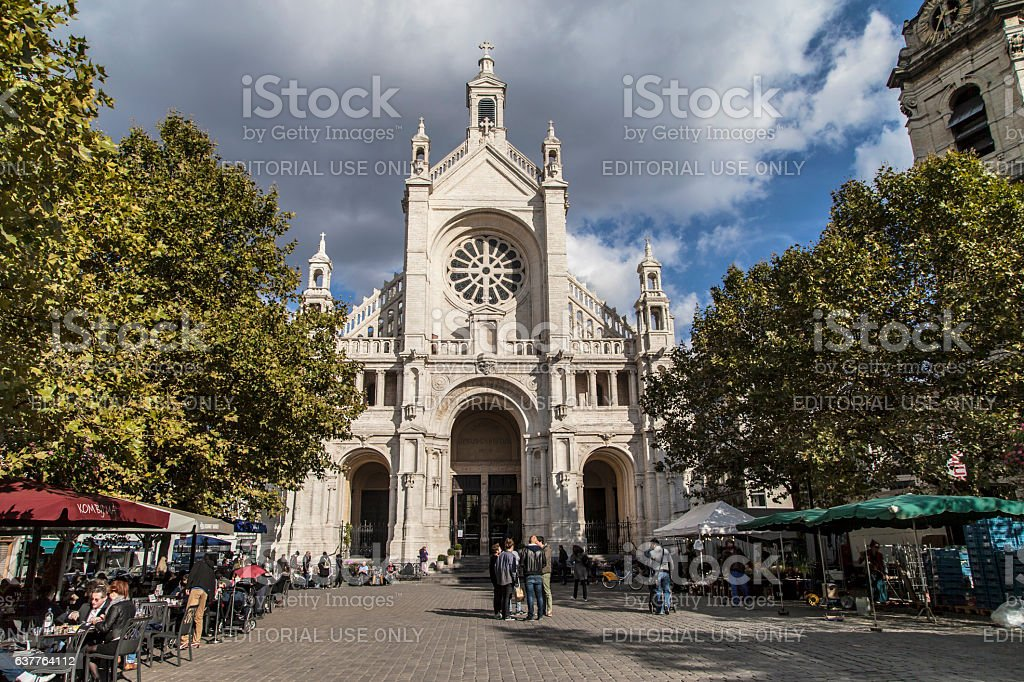 Place Sainte Catherine in Brussels stock photo