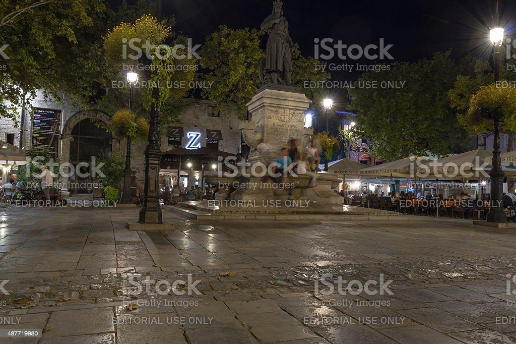 Place Saint-Louis - Aigues-Mortes - Camargue stock photo