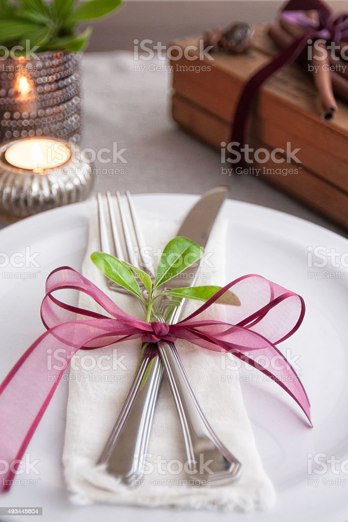 Place setting for Christmas at home stock photo