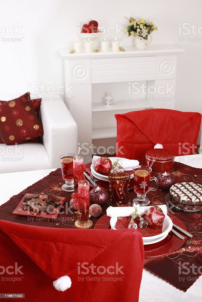 Place setting for Christmas royalty-free stock photo