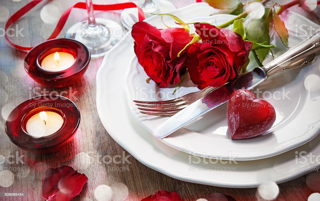Place setting for Valentines day stock photo