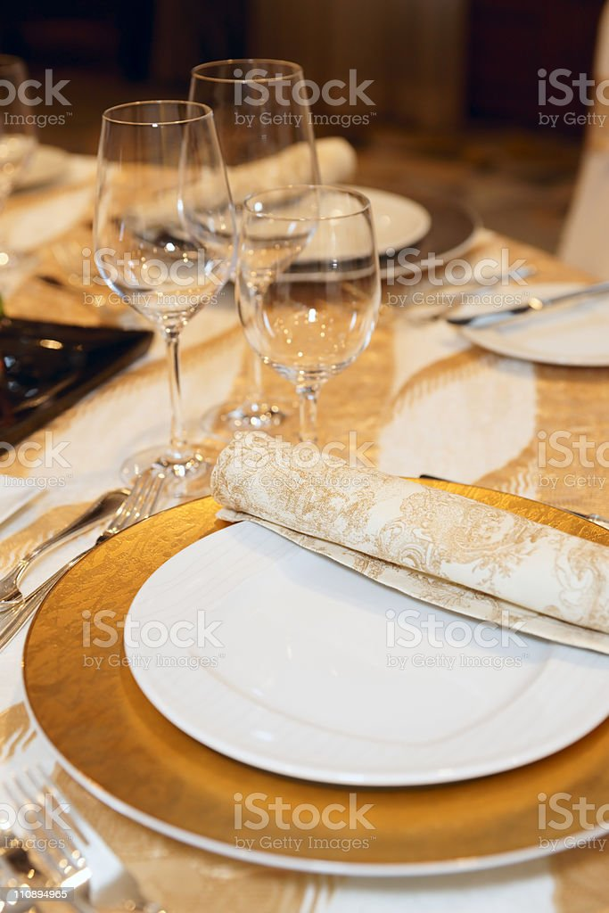 Place setting in restaurant royalty-free stock photo
