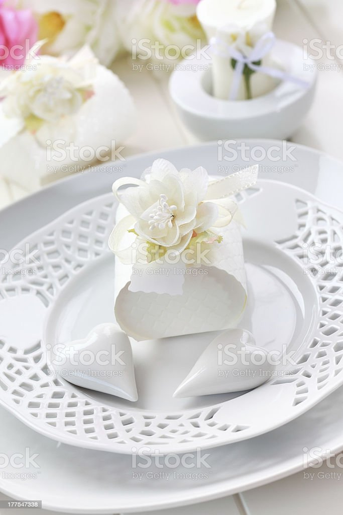 Place setting in white royalty-free stock photo