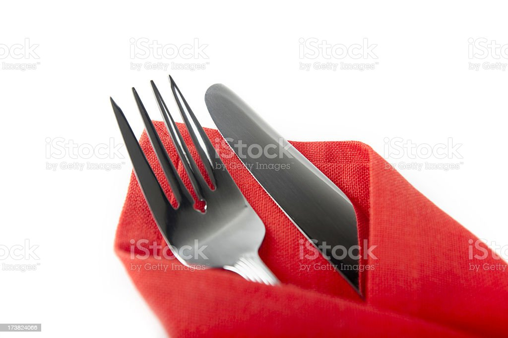place setting isolated on white royalty-free stock photo