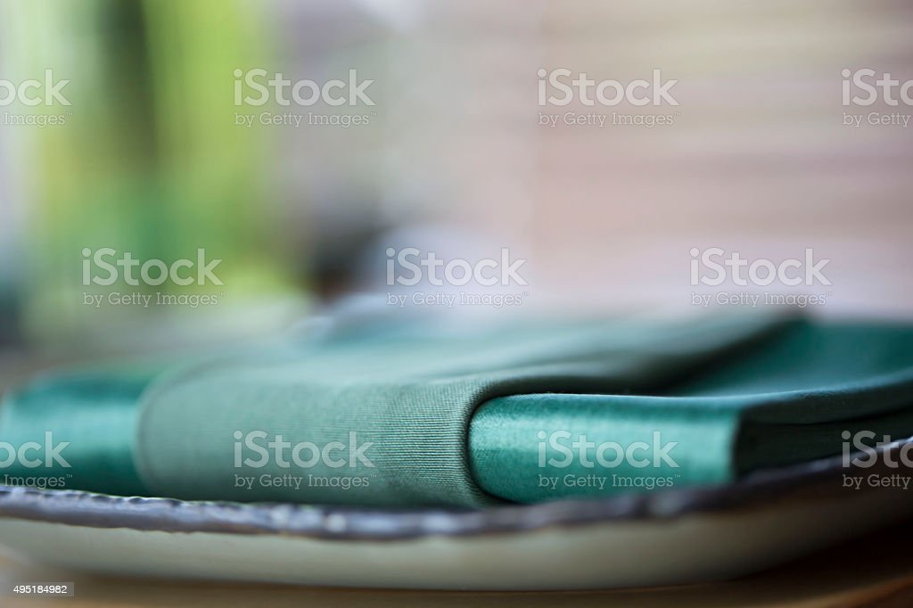 Place setting napkin stock photo