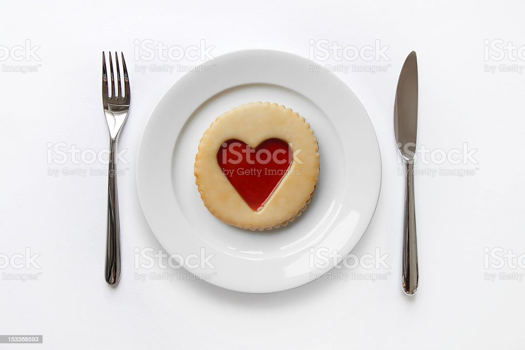 Place setting with cookie stock photo