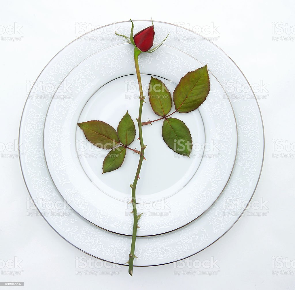 place setting with rose 2 royalty-free stock photo