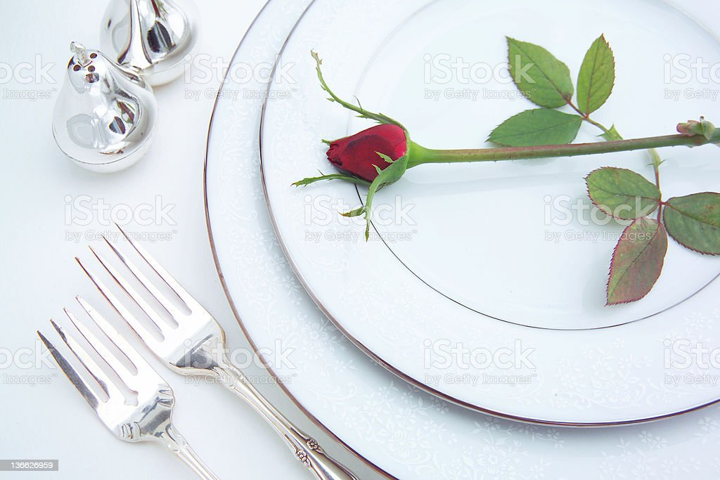 place setting with rose royalty-free stock photo