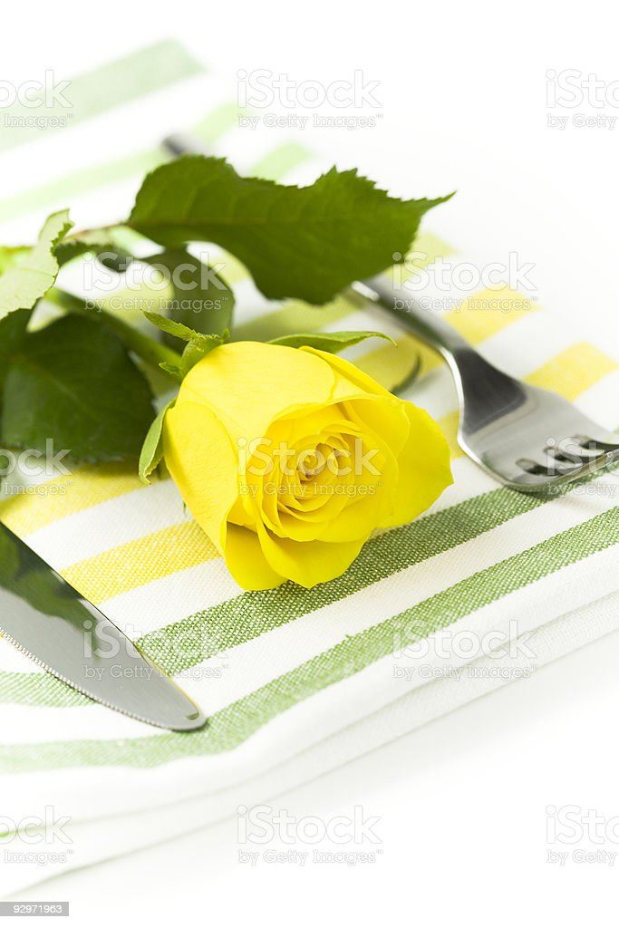 Place setting with yellow rose royalty-free stock photo