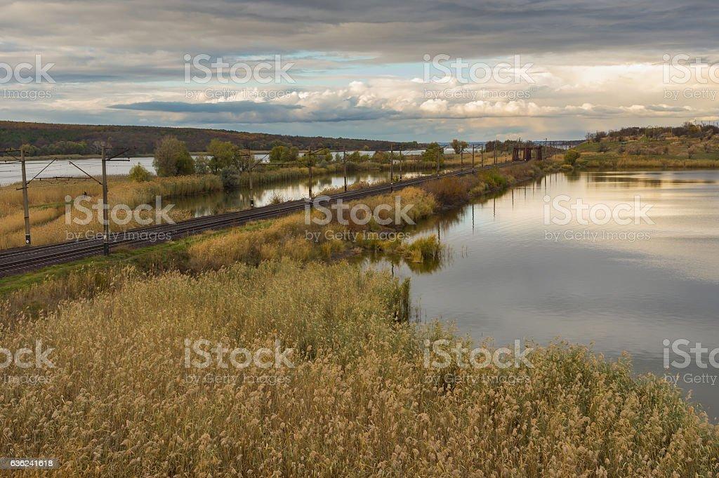Place where small river Karachokrak flows into Dnepr stock photo