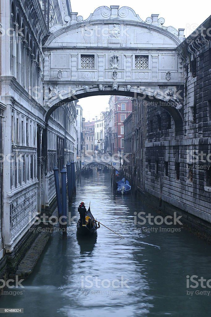 Places - Italy, Venice, Gondola under Bridge of Sighs royalty-free stock photo