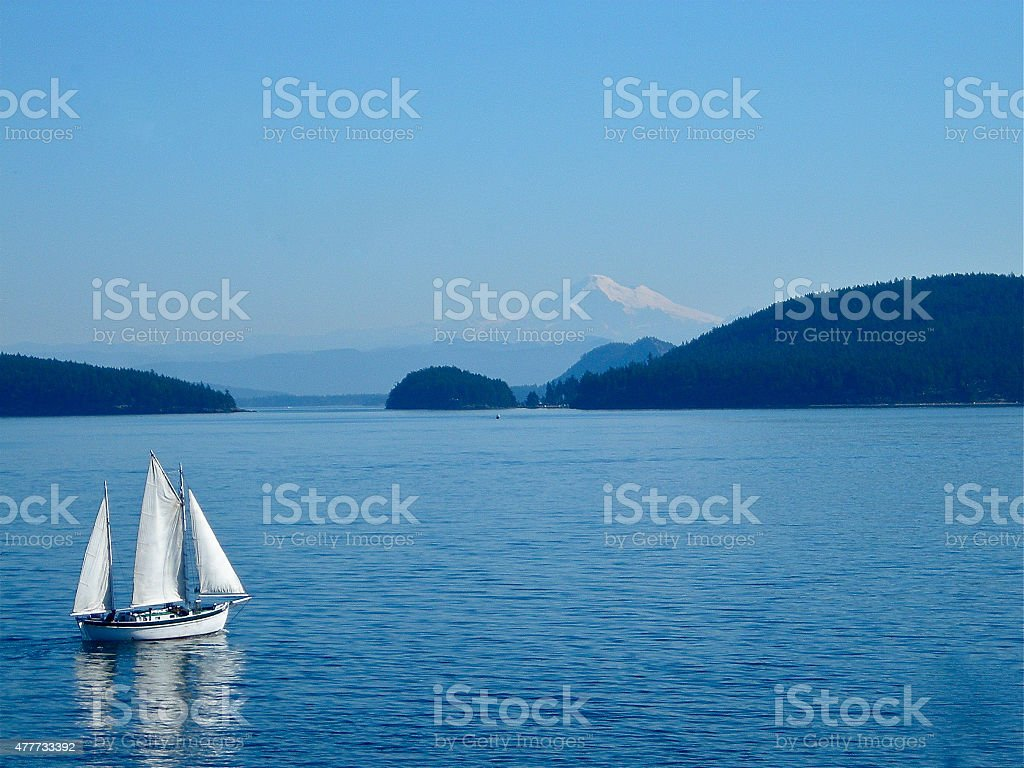 Placid waters on the Puget Sound stock photo