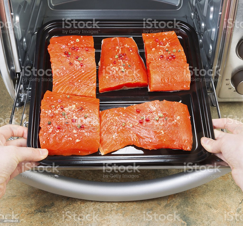 Placing Salmon into Oven for Baking royalty-free stock photo