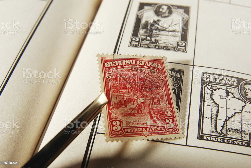 placing stamp stock photo