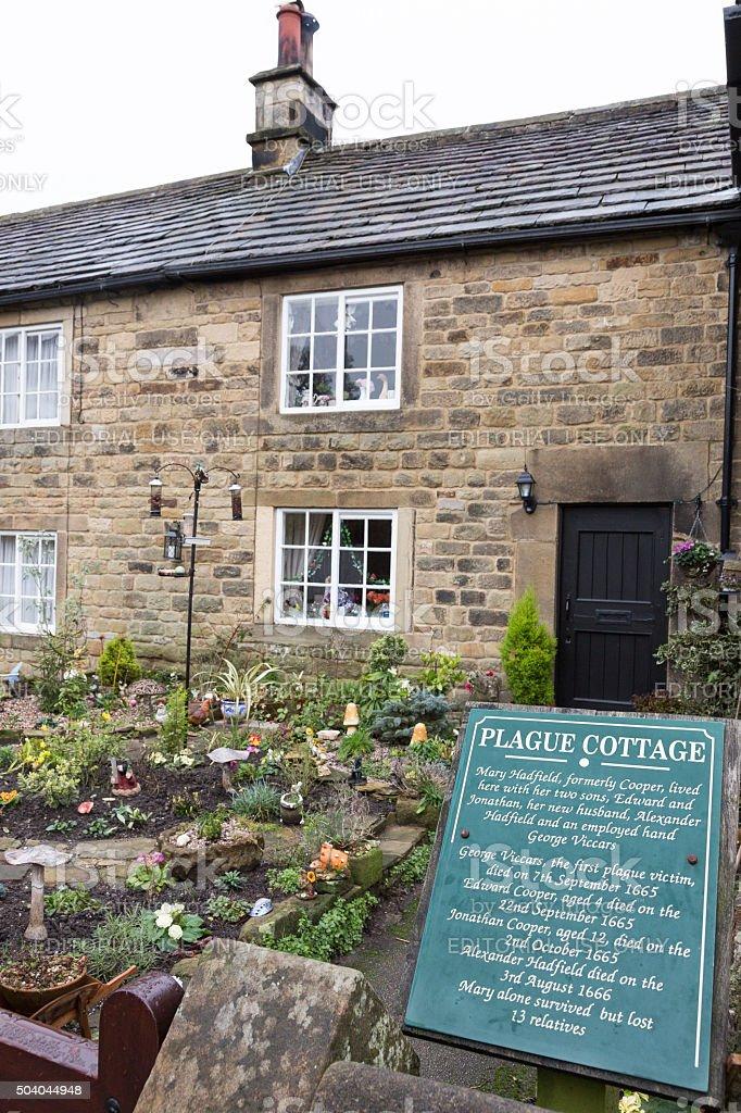 Plague cottages in Eyam, Derbyshire, UK stock photo