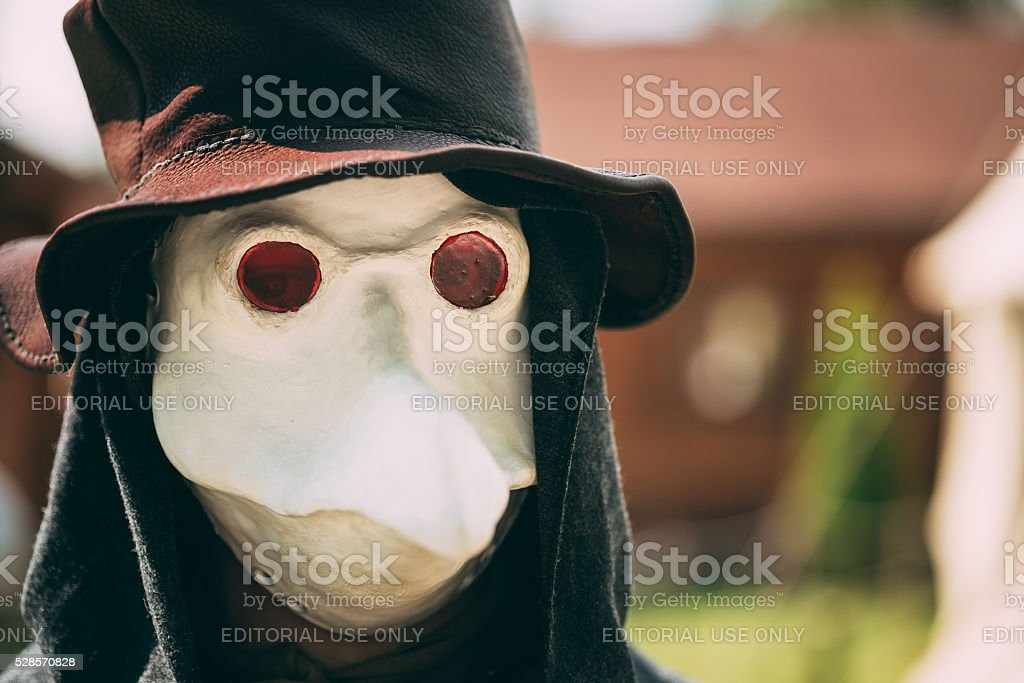 Plague doctor - participant of festival of medieval culture stock photo