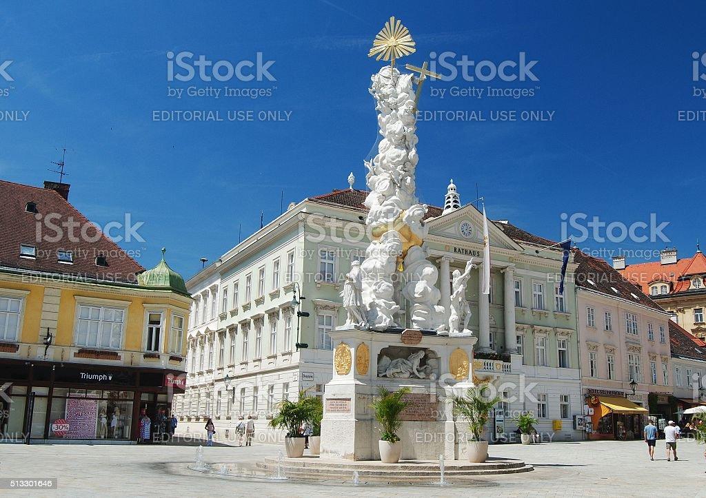 Plague Pillar on Hauptplatz in Baden bei Wien. stock photo