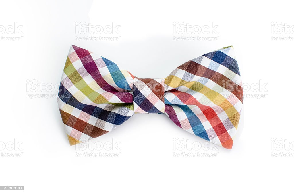 Plaid bow tie close up on white isolated background stock photo