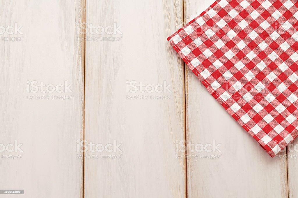 Plaid cloth on picnic table stock photo