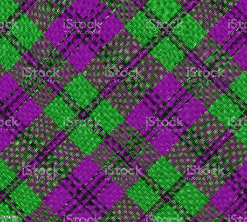 plaid fabric in Mardi Gras colors royalty-free stock photo