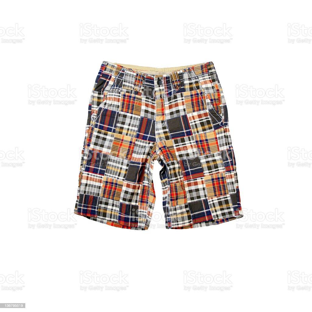 Plaid Madras Shorts on White Background royalty-free stock photo