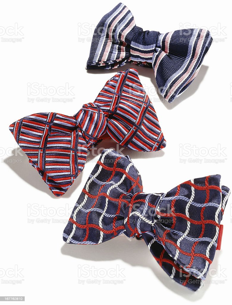 Plaid mens bowties against white background stock photo
