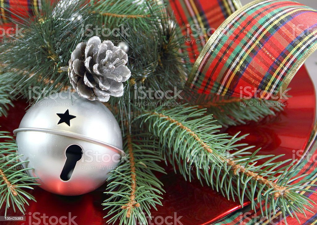 Plaid Ribbon and Silver Bell stock photo