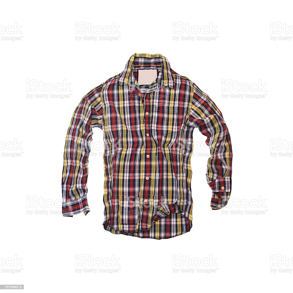 Plaid Shirt - Red, Yellow and Black on White Background royalty-free stock photo