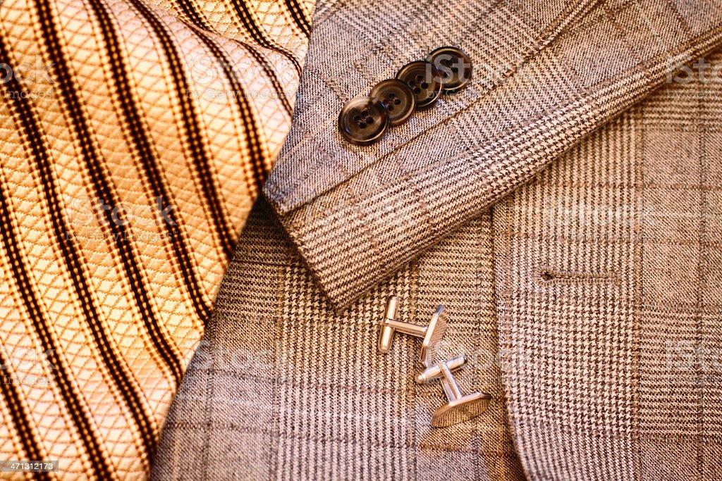 Plaid Sport Coat and Necktie Detail stock photo