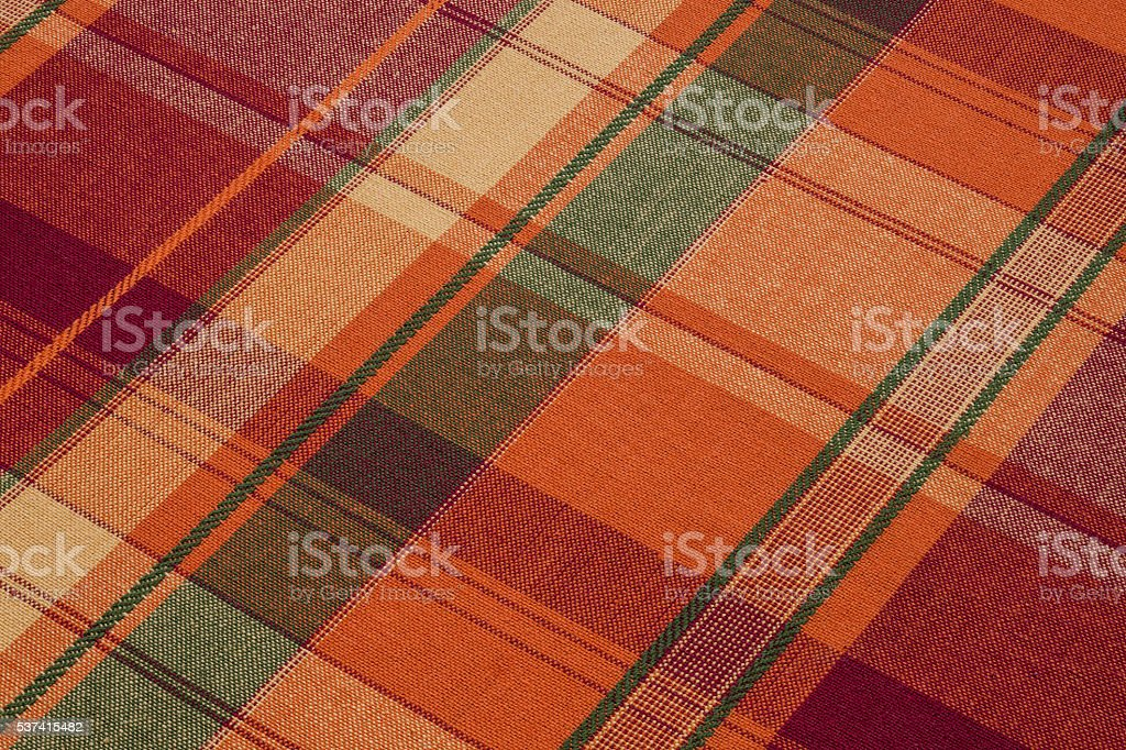 plaid tablecloth angled view stock photo