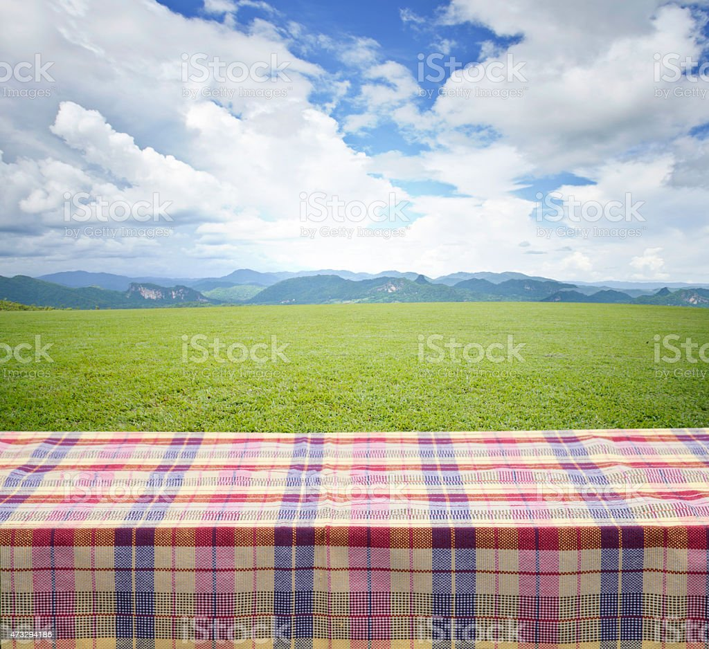 Plaid tablecloth overlooking green field with hills stock photo
