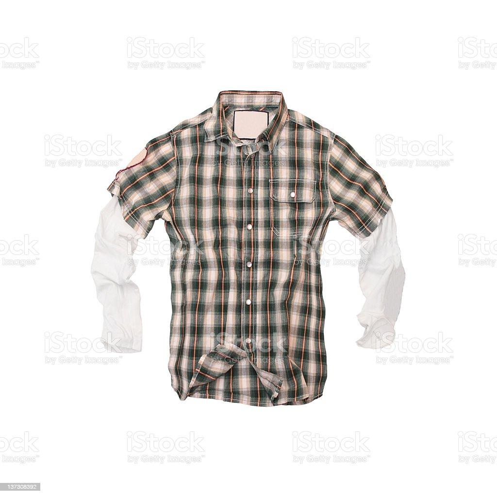 Plaid Twofer Shirt on White Background royalty-free stock photo