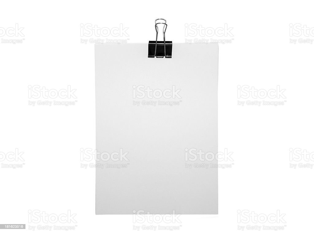 Plain A4 paper and bulldog clip royalty-free stock photo