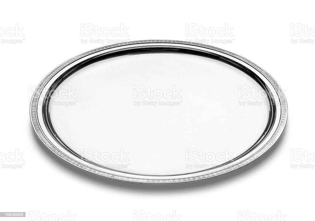 A plain and simple silver plate stock photo