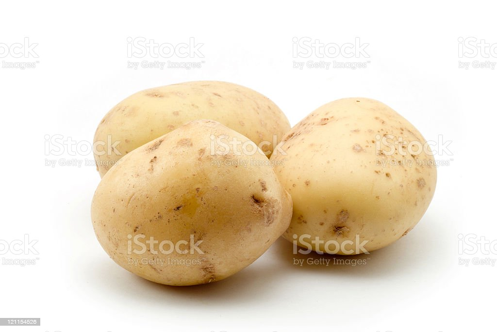 3 plain baking potatoes on a white background royalty-free stock photo