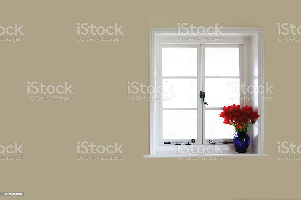 Plain beige wall with white windows and red flowers  stock photo