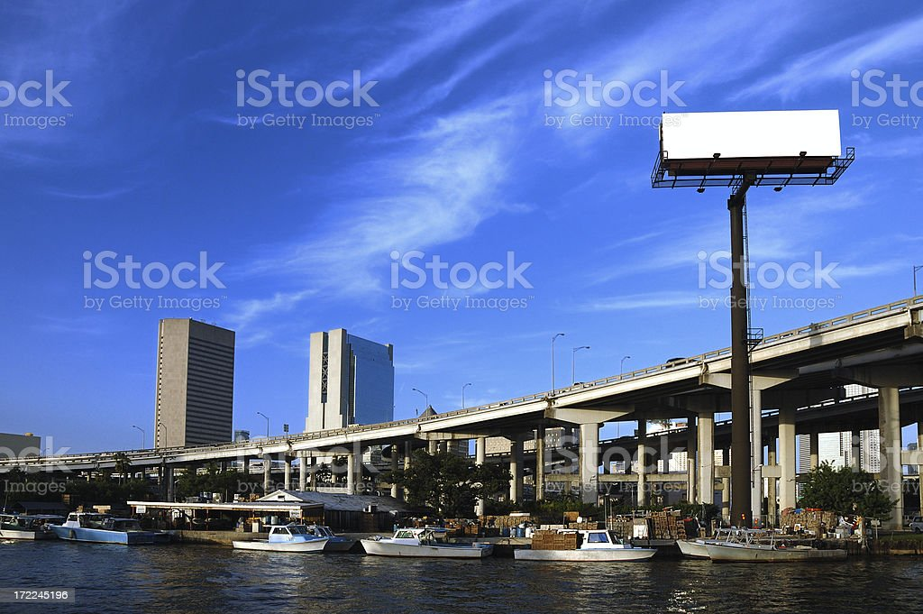 plain billboard over miami river downtown landmark stock photo